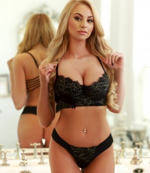 Busty Blonde Gaby In Her Sexy Black Ilingerie